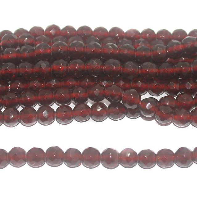 35+ Faceted Glass Round Beads Trans Dark Red 10 mm