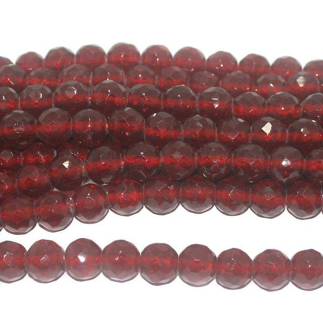 25+ Faceted Glass Round Beads Trans Red 12 mm