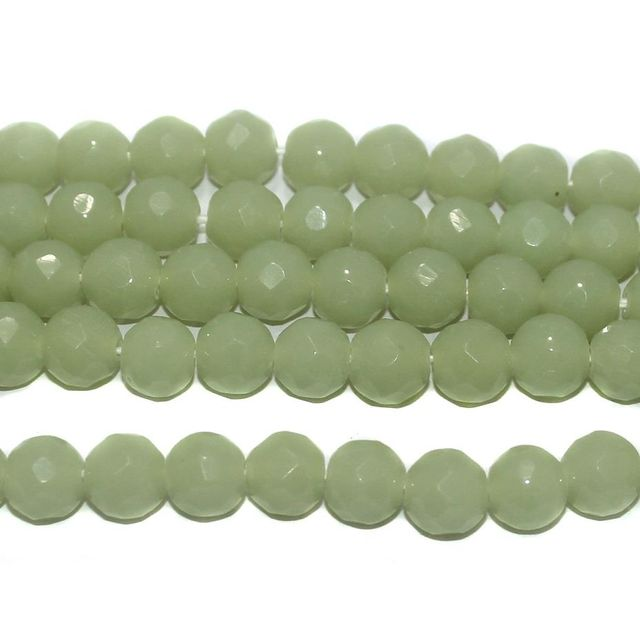 35+ Faceted Glass Round Beads Light Green 10 mm