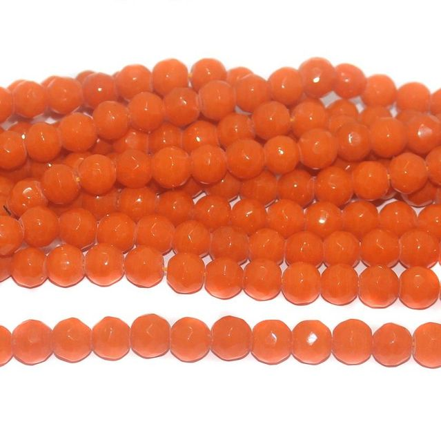 35+ Faceted Glass Round Beads Orange 10 mm