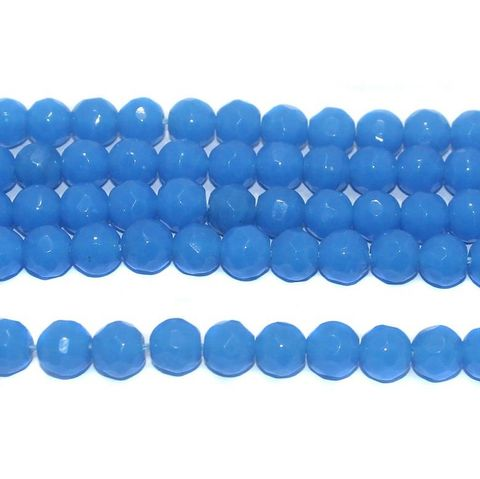 35+ Faceted Glass Round Beads Sky Blue 10 mm