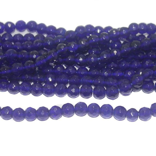 35+ Faceted Glass Round Beads Blue 10 mm