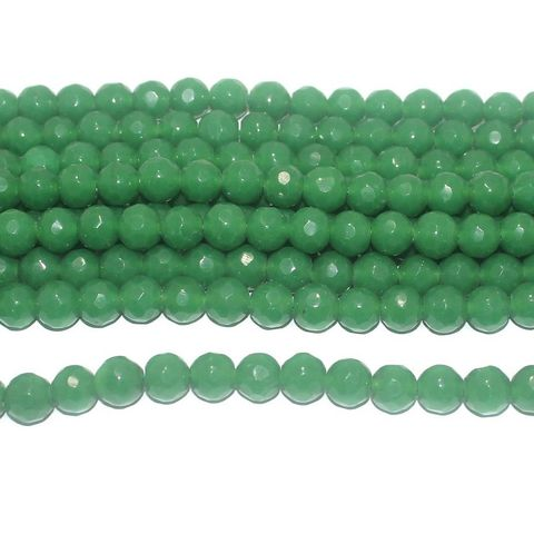 35+ Faceted Glass Round Beads Green 10 mm