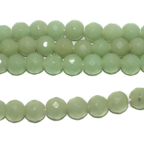 25+ Faceted Glass Round Beads Light Green 12 mm