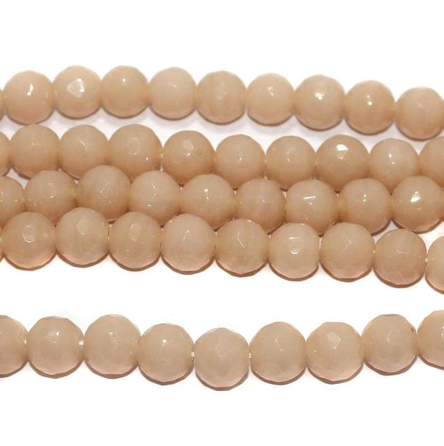 25+ Faceted Glass Round Beads Light Peach 12 mm