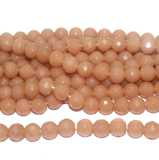 25+ Faceted Glass Round Beads Peach 12 mm
