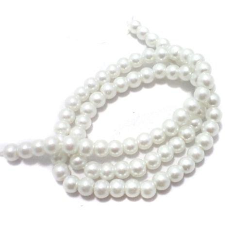 1 String Glass Pearl Beads White 5 mm