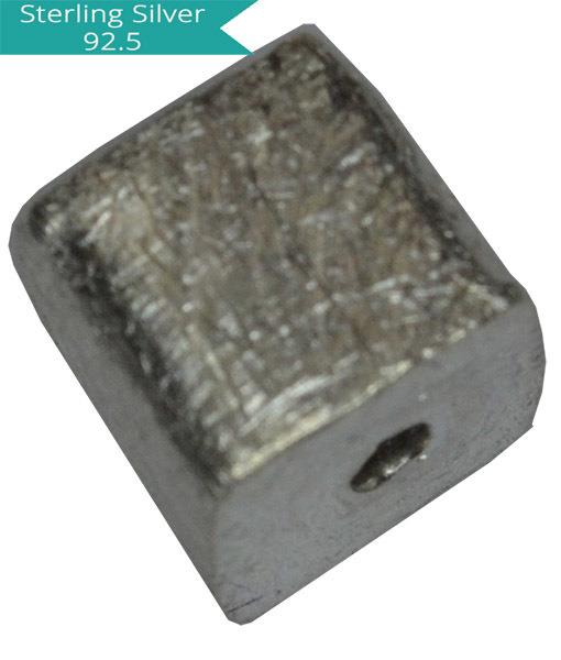6mm Sterling Silver Brushed Cube Bead 6mm