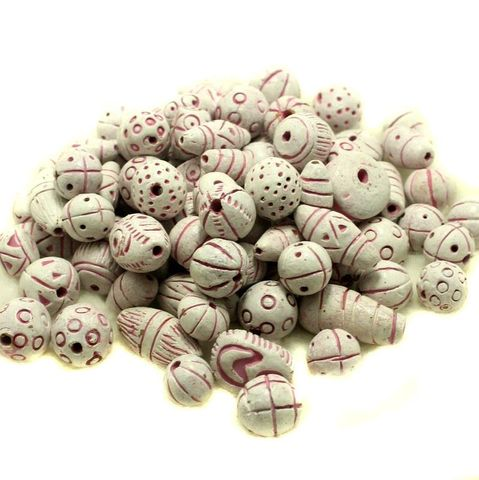 50 Clay Beads Assorted White 12-30mm