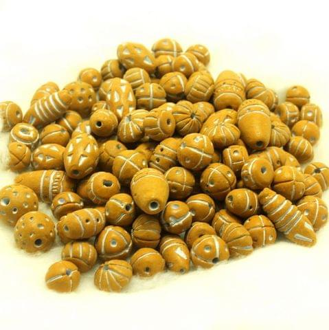 50 Clay Beads Assorted Golden 12-30mm