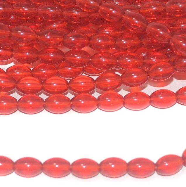 Red Trans Oval Glass beads 10x7mm 12 Strings