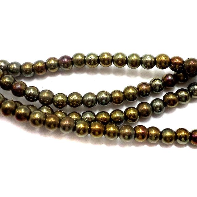 5 Strings Glass Round Beads GD 4 mm