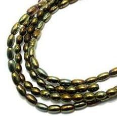 5 Strings Glass Oval Beads ( GD ) 4 mm