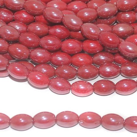 Red Luster Oval Glass beads 10x7mm 12 Strings