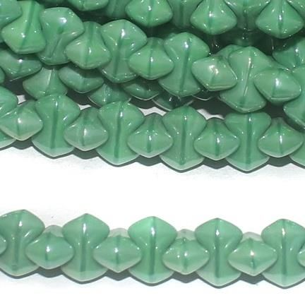 Green glass Bamboo beads 9x5mm 10 Strings