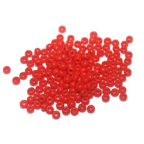 100 Gm Seed Beads Opaque Red, Size 8/0