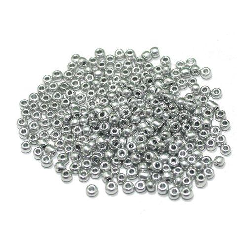 Metallic Seed Beads Grey (100 Gm), Size 11/0