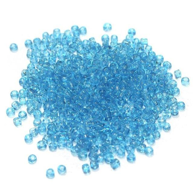 100 Gm Seed Beads Light Blue Trans 11/0 size