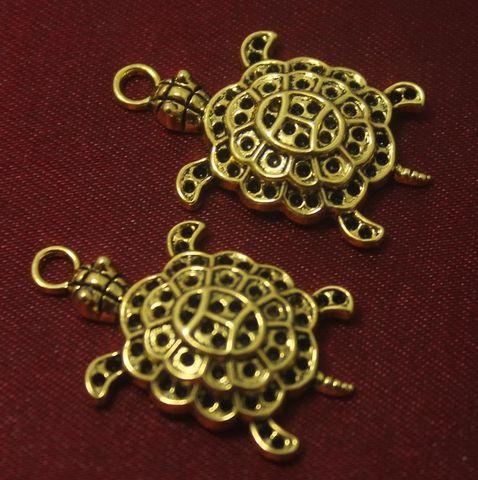 10 Pcs. German Silver Tortoise Pendants Golden 29x21 mm