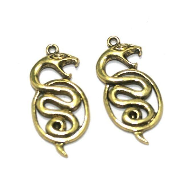 25 Pcs. German Silver Golden Snake Pendants 35x16 mm