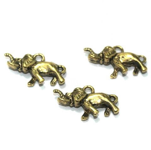 25 Pcs. German Silver Golden Elephant Charms 25x13 mm