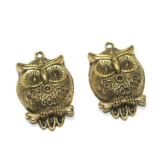 12 Pcs. German Silver Golden Owl Pendants 35x22 mm