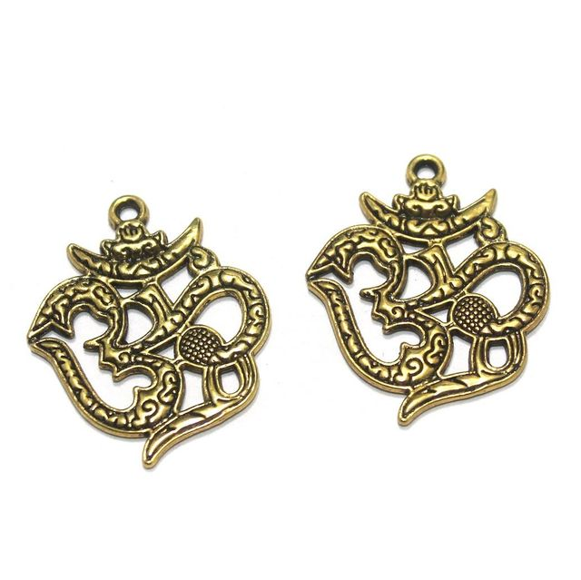 12 Pcs. German Silver Golden Om Pendants 38x30 mm