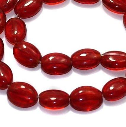 5 Strings Fire Polish Flat Oval Beads Red 14x10mm