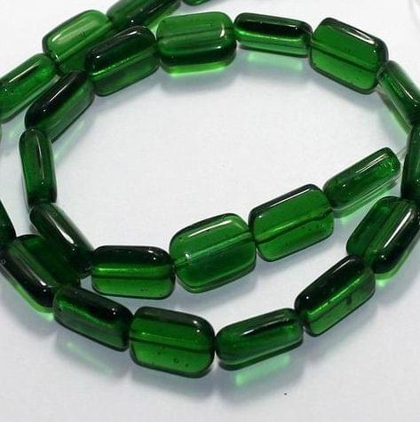 5 Strings Fire Polish Square Beads Green 15x10mm