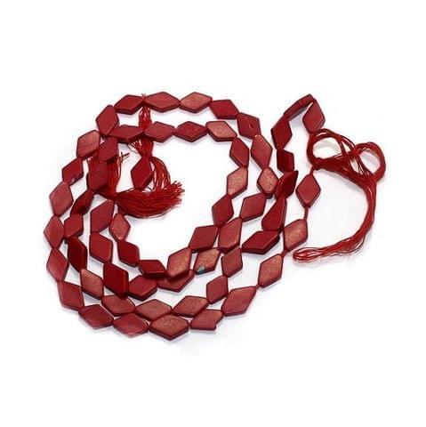 5 Strings Semiprecious Beads Diamond Red 10X6mm