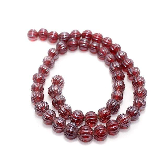 5 Strings Kharbooja Glass Beads Light Red 10mm