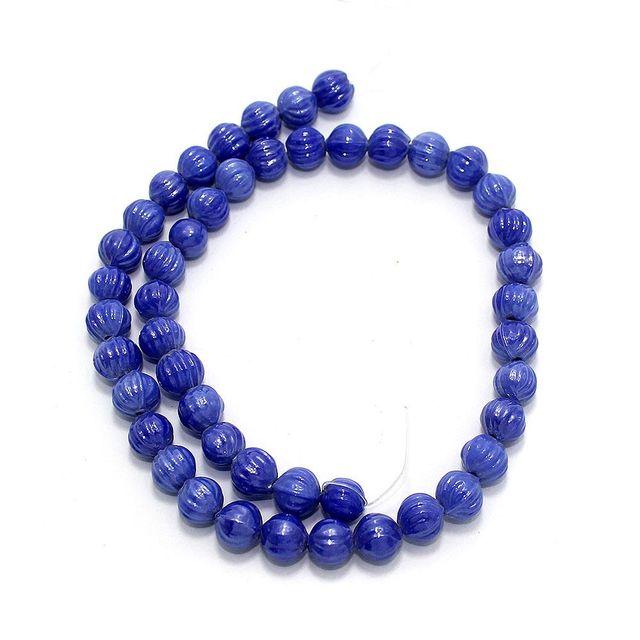 5 Strings Kharbooja Glass Beads Dark Blue 10mm