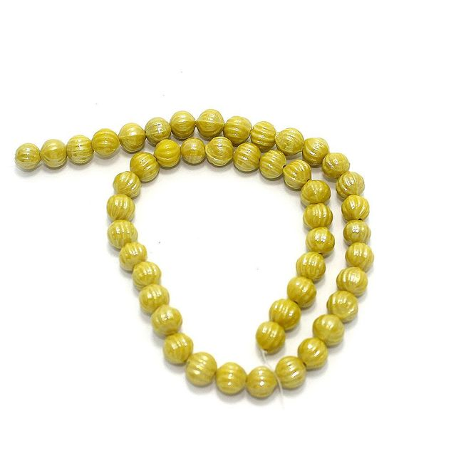 5 Strings Kharbooja Glass Beads Yellow 10mm
