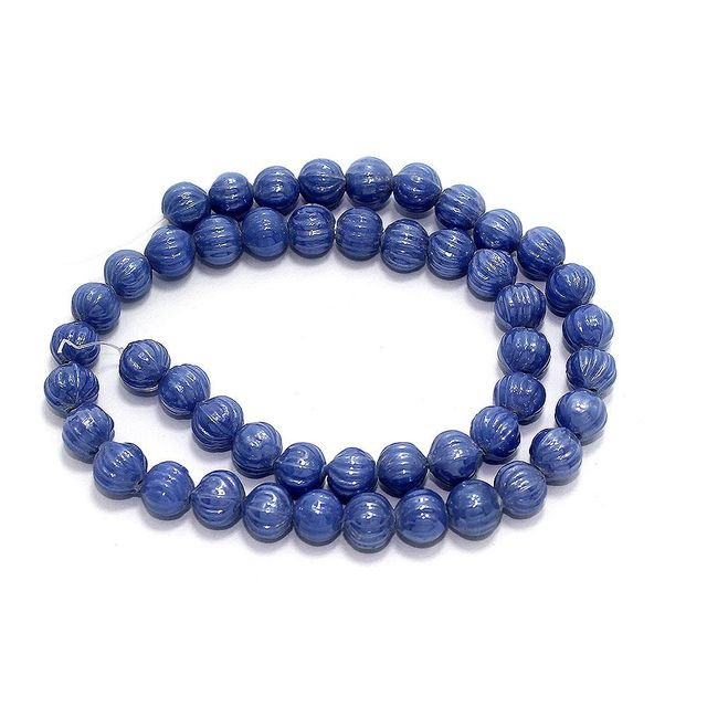 5 Strings Kharbooja Glass Beads Blue 10mm