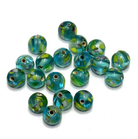 250 pcs of Millefiori Round Beads Light Teal 8mm