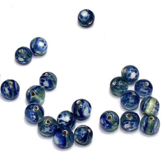 250 pcs of Millefiori Round Beads Blue 8mm