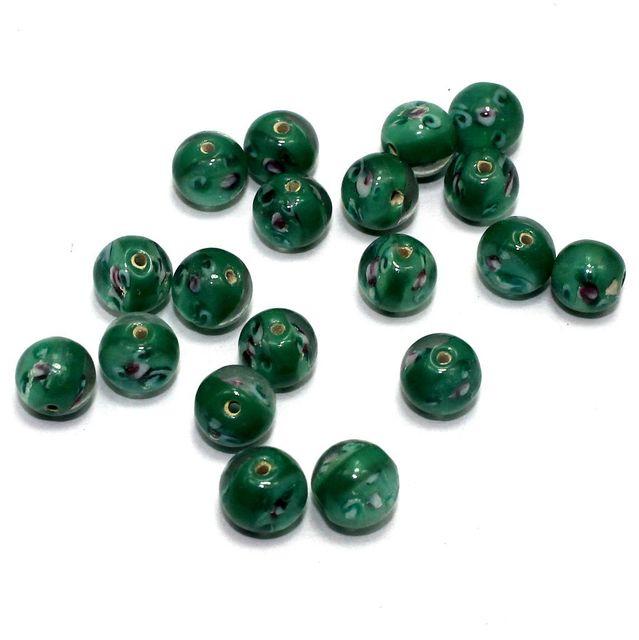 50 Millefiori Round Beads Green 10mm