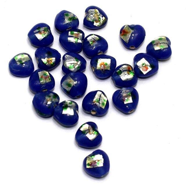 50 Millefiori Heart Beads Blue 10mm