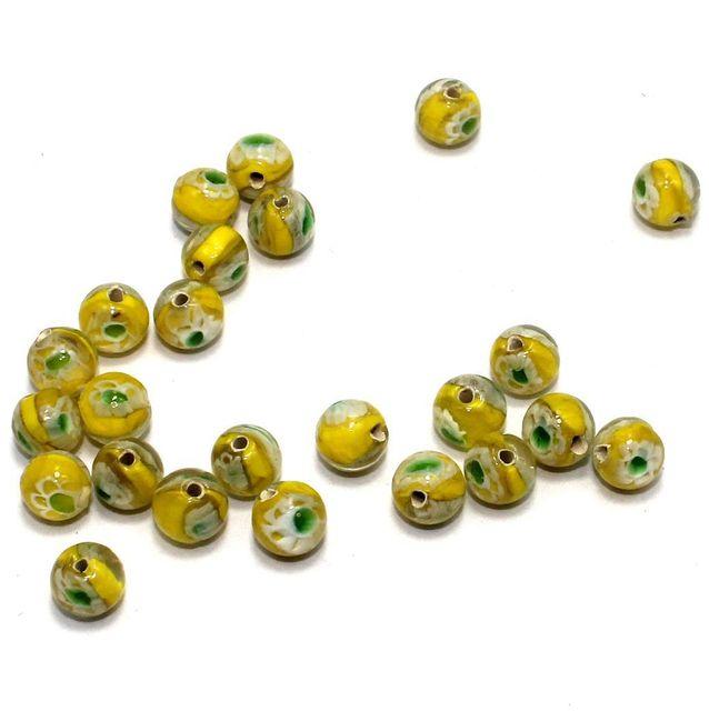 250 Millefiori Round Beads Yellow 8mm