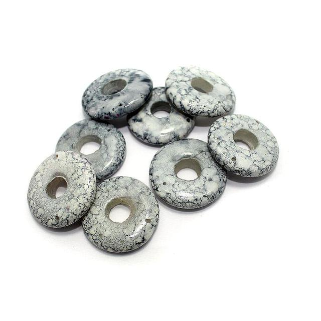 25 Marble Coins Beads Grey 30mm