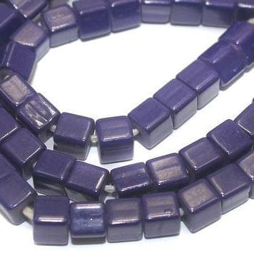 Jaipuri Beads Dark Blue Cube 5 Strings 6mm