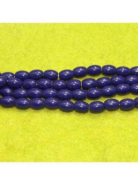 Jaipuri Beads Dark Blue Oval 5 Strings 12x10mm