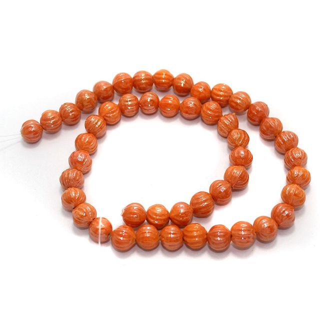 5 Strings Kharbooja Glass Beads Orange10mm