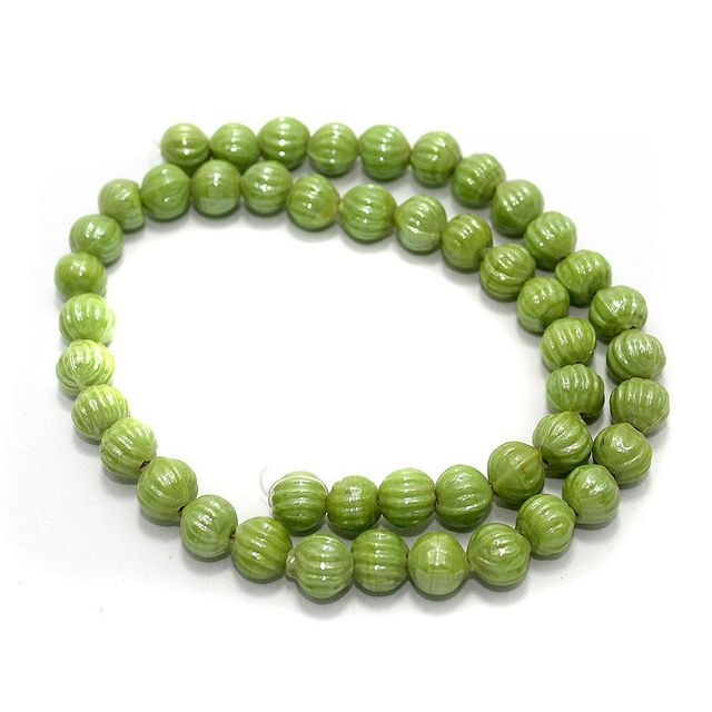 5 Strings Kharbooja Glass Beads Peridot 10mm