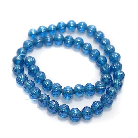 5 Strings Kharbooja Glass Beads Sky Blue 10mm