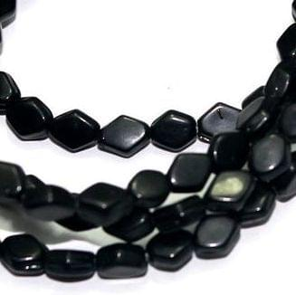 5 Strings Fire Polish Diamond Beads Black 16x6mm