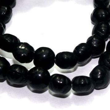 5 Strings Fire Polish Melon Beads Black 7x8mm