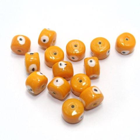 125 pcs Evil Eye Tyre Beads Orange 13x9mm