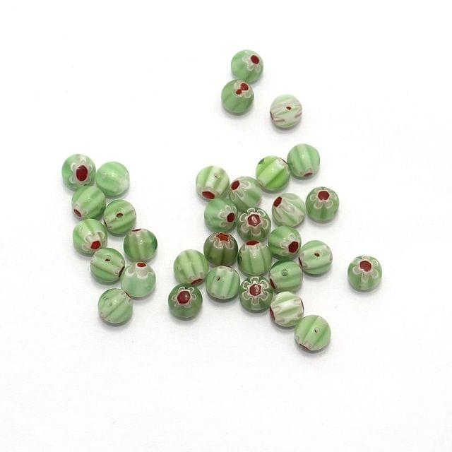 100 Chevron Round Beads Peridot 8mm