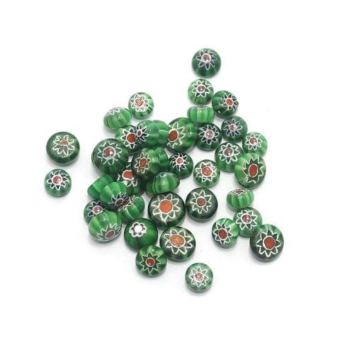 100 Chevron Cabochon Round Beads Green 8mm